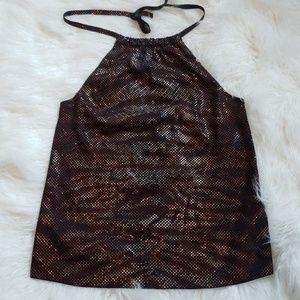 ST. JOHN Black Mahogany Multi Sequin Halter top